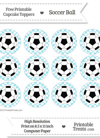Free Pastel Aqua Blue Checker Pattern Soccer Ball Cupcake Toppers Kits Imprimibles Patrones Manualidades