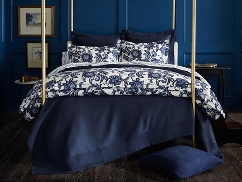 "NEW! ""Margaux""-Navy A classic Jacobean floral in navy and white. Printed on 100% Cotton Sateen by Peacock Alley"