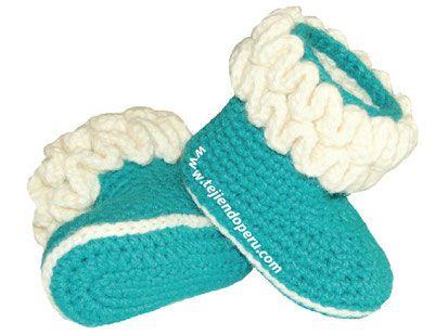 Tutorial: botitas con ondas para bebes (wiggle crochet baby booties ...