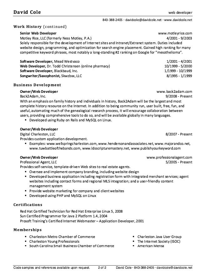 web designer resume sample