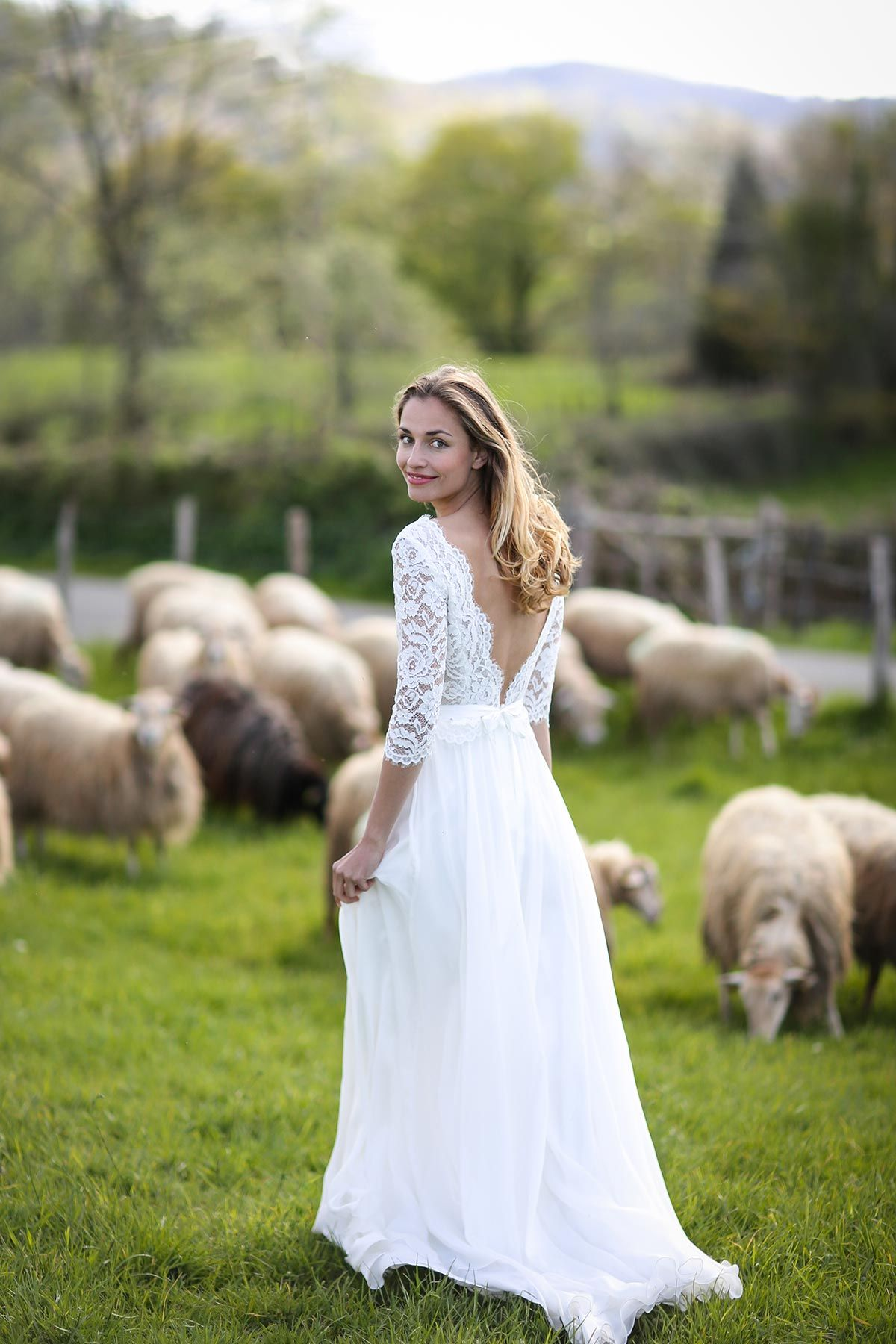 Cheap country lace wedding dresses  Lizea  marielaporte  collection wedding mariee mariage