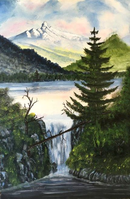 Bergsee mit Wasserfall  50 cm x 70 cm Acryl auf Leinwand, 2015