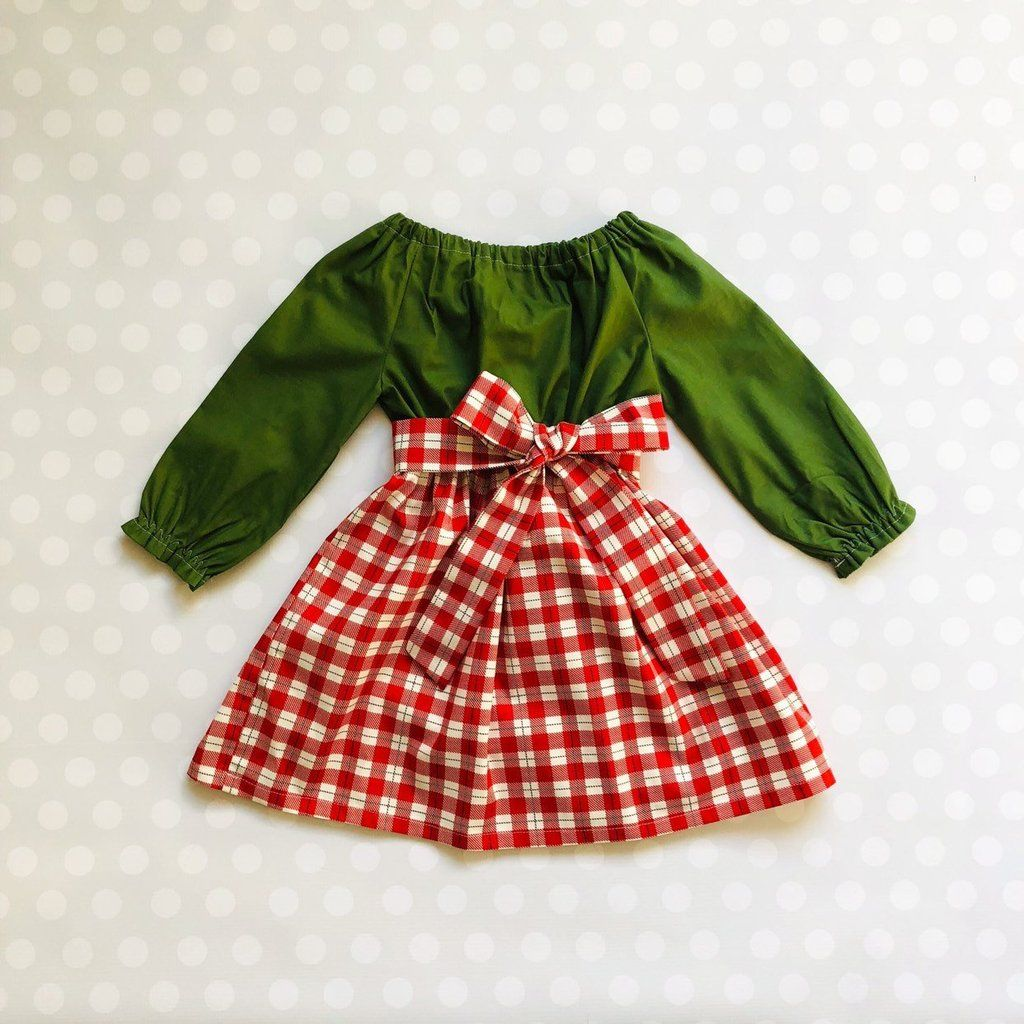 Newborn Infant Baby Girl Ruffle Long Sleeve Red Plaids Checked Party Princess Flare Tutu Dresses