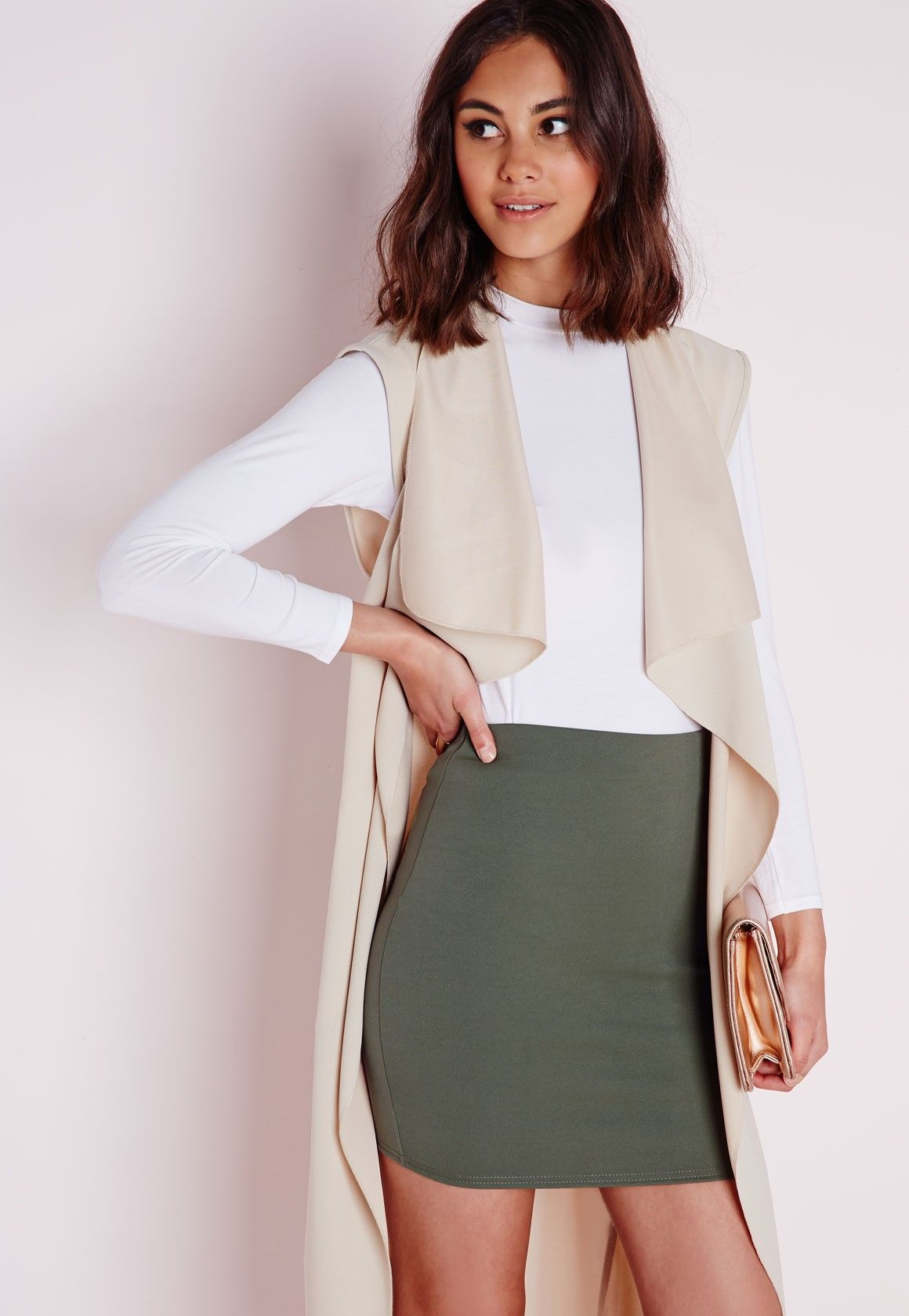 Missguided - Petite Khaki Scuba Mini Skirt | Fashion | Pinterest ...