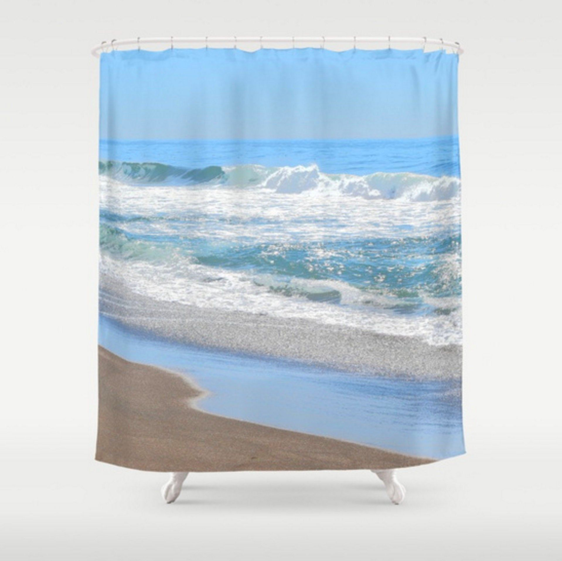 Frothy White Ocean Waves Shower Curtain Baby Blue Shower Curtain