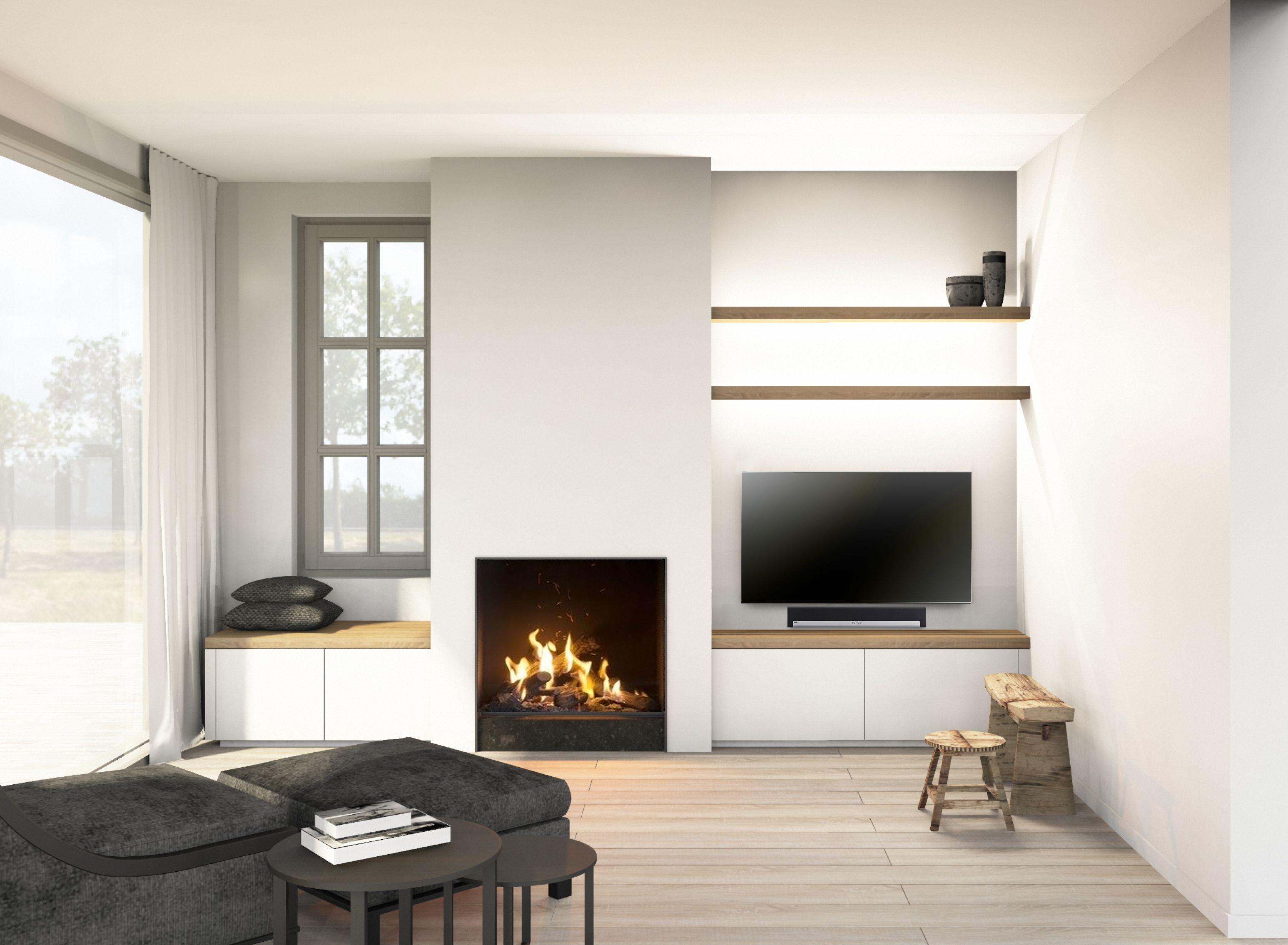 moderne haardwand haard laag tegen de grond legplanken. Black Bedroom Furniture Sets. Home Design Ideas
