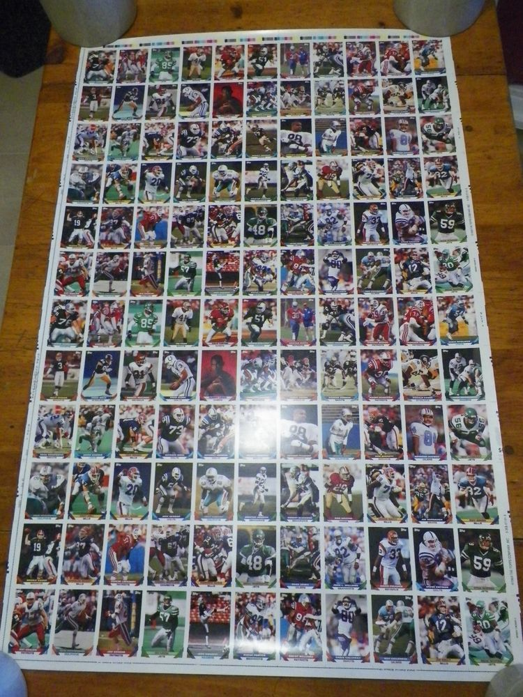1993 topps football cards 3 uncut sheets complete series 1