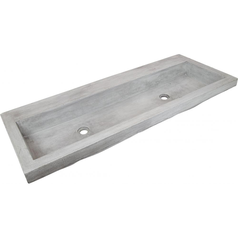 Chelmsford Concrete Sink With 2 Holes, Dark Grey