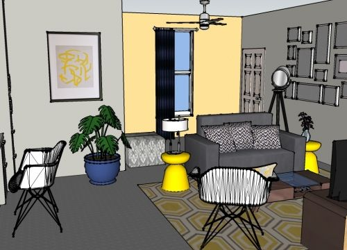 For a modern, sleek living room, try a palette of gray and yellow ...