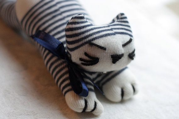 Felix the Sock Cat  Upcycled Soft Toy by milophoto on Etsy, £10.00