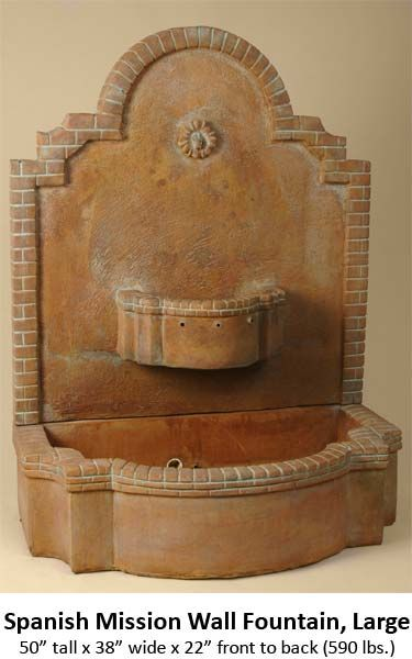 Wall Fountains | Garden Fountains: Spanish Mission Wall Fountain Large