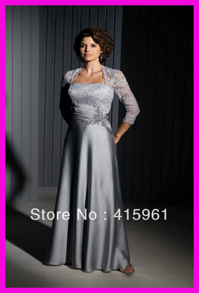 One Piece Silver Lace Satin Long Plus Size Mother Of The Bride Dresses Gow Mother Of The Bride Dresses Long Mother Of The Bride Dresses Mother Of Groom Dresses
