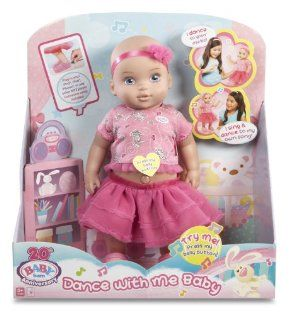 ZAPF Baby Born Dance with Me Baby by ZAPF. $22.25. Connect an MP3 player to hear your own music. Doll dances to the beat of all kinds of music and also dances from side to side and up and down. Removable outfit for extended fashion play, binyl body and surface washable. She dances faster when the beat plays faster and she stops dancing when the song ends. Comes with her own special song. From the Manufacturer                Baby born Dance With Me baby is a beautiful...