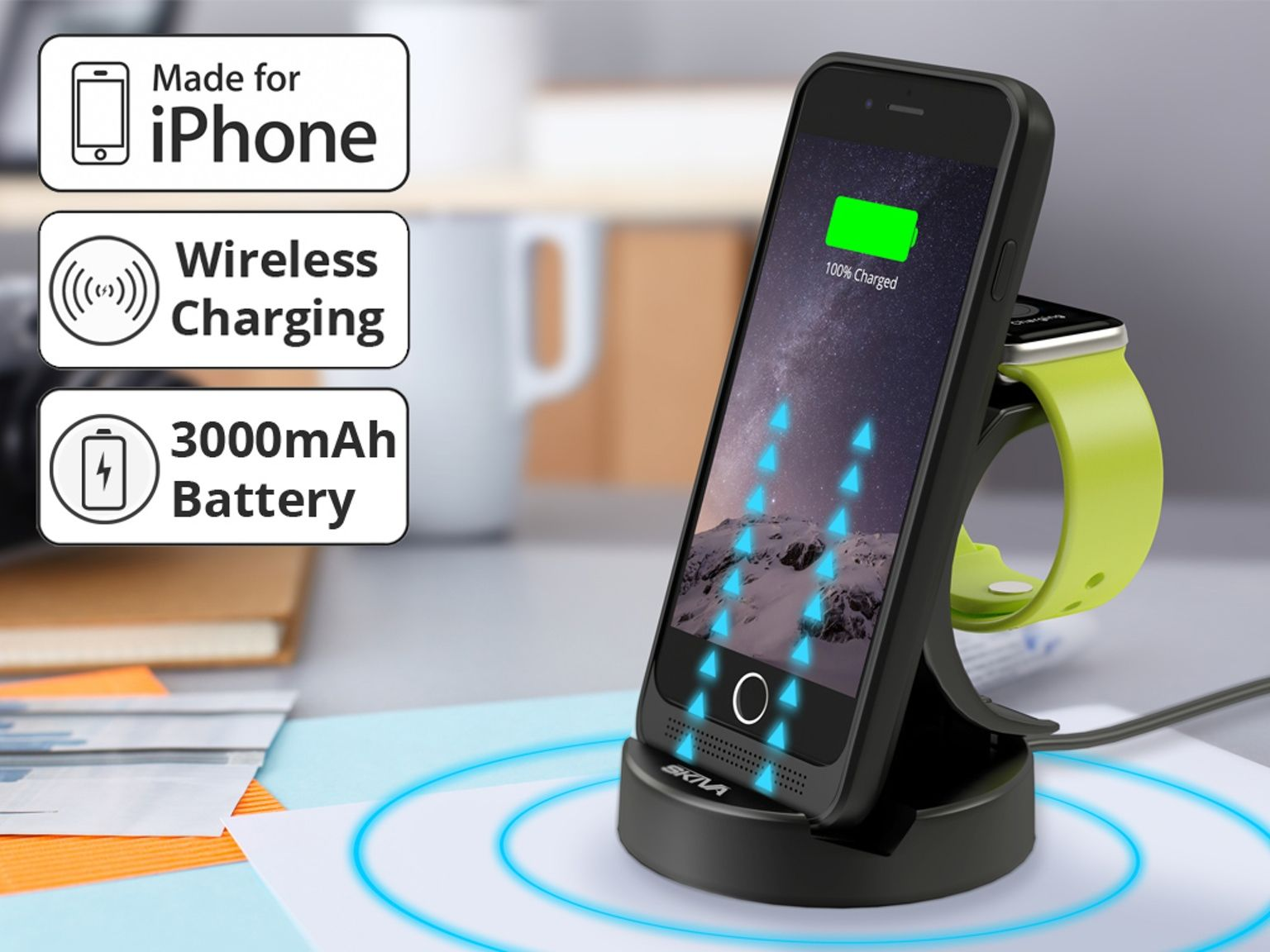 Apple Mfi Certified 3000mah Iphone 6 Battery Case With Wireless Watch Charging Dock Stand Optional Included