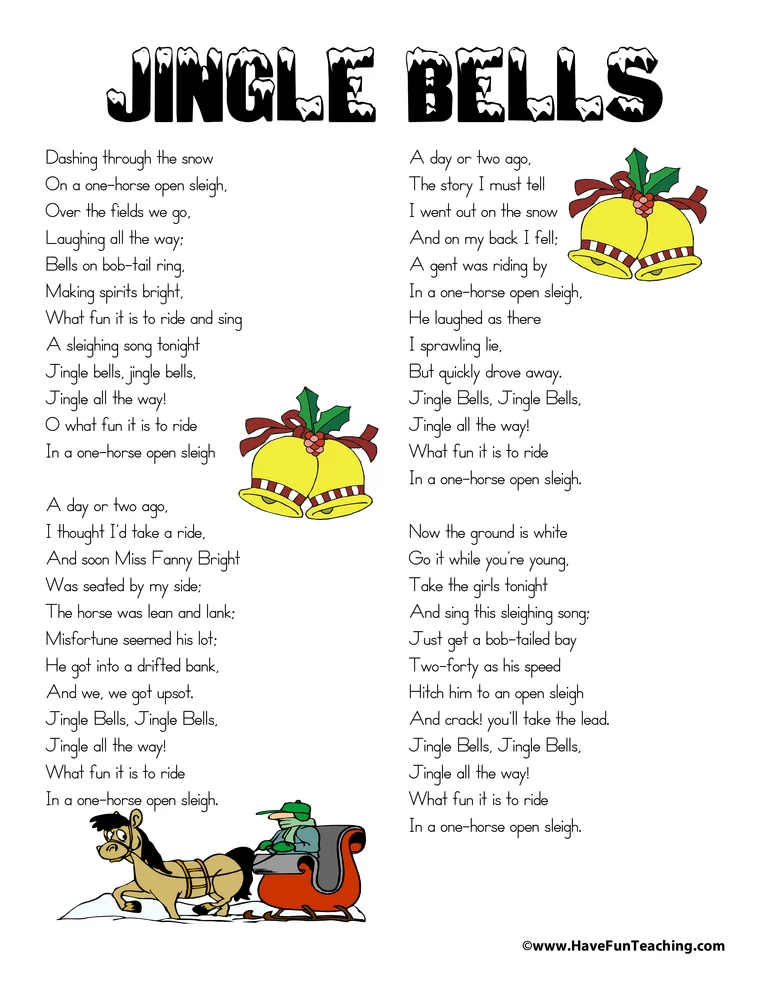Jingle Bells Lyrics Jingle Bells Lyrics Have Fun Teaching Christmas Lyrics