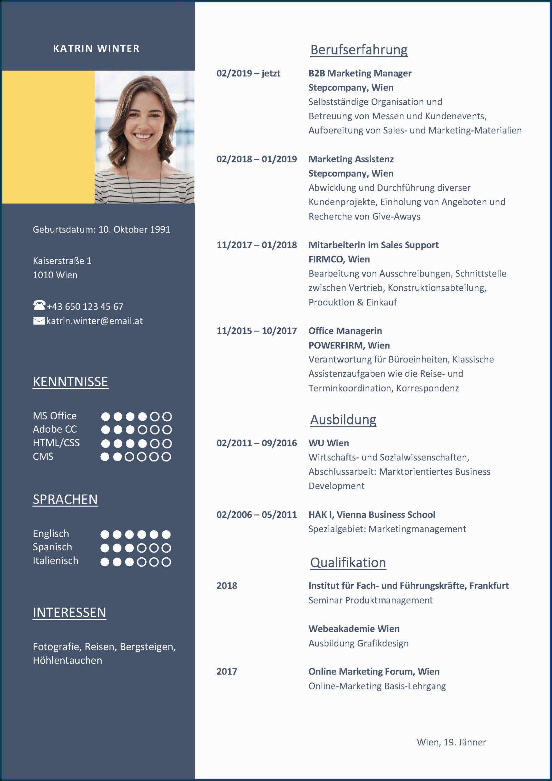Kreativer Lebenslauf Deutsch Di 2020