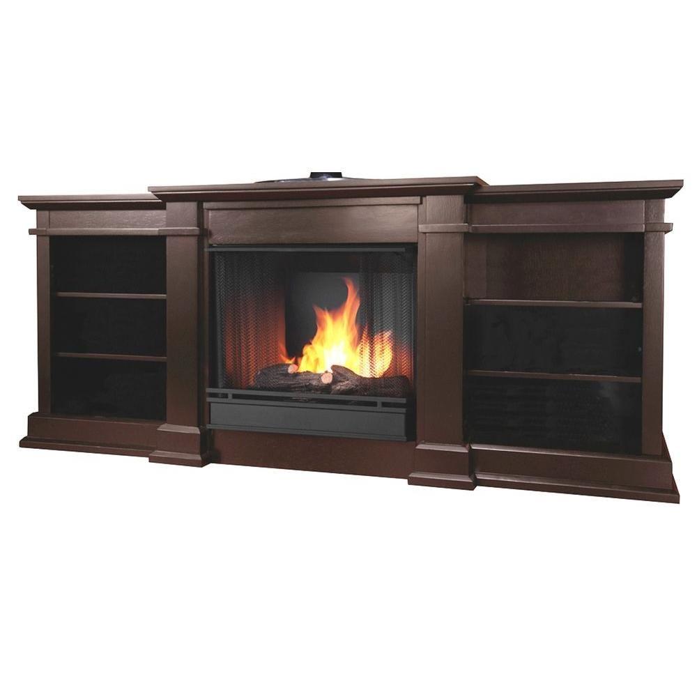 Fresno 72 In Media Console Gel Fuel Fireplace In Dark Walnut
