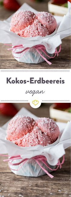 Photo of Vegan strawberry ice cream made from coconut milk – naturally lactose-free