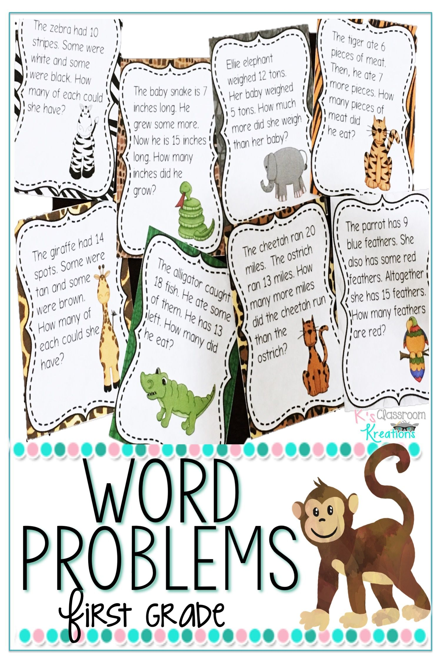Jungle Themed Word Problems For 1st Grade Word Problems Fun Math Centers Math Word Problems [ 2249 x 1499 Pixel ]