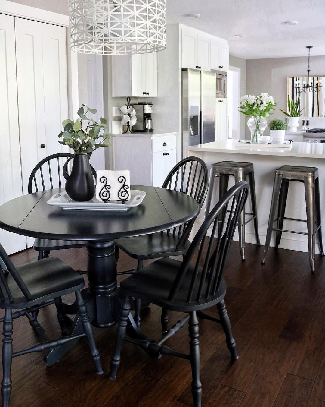 White Kitchen With Eat In Area Black Table Black Kitchen Table