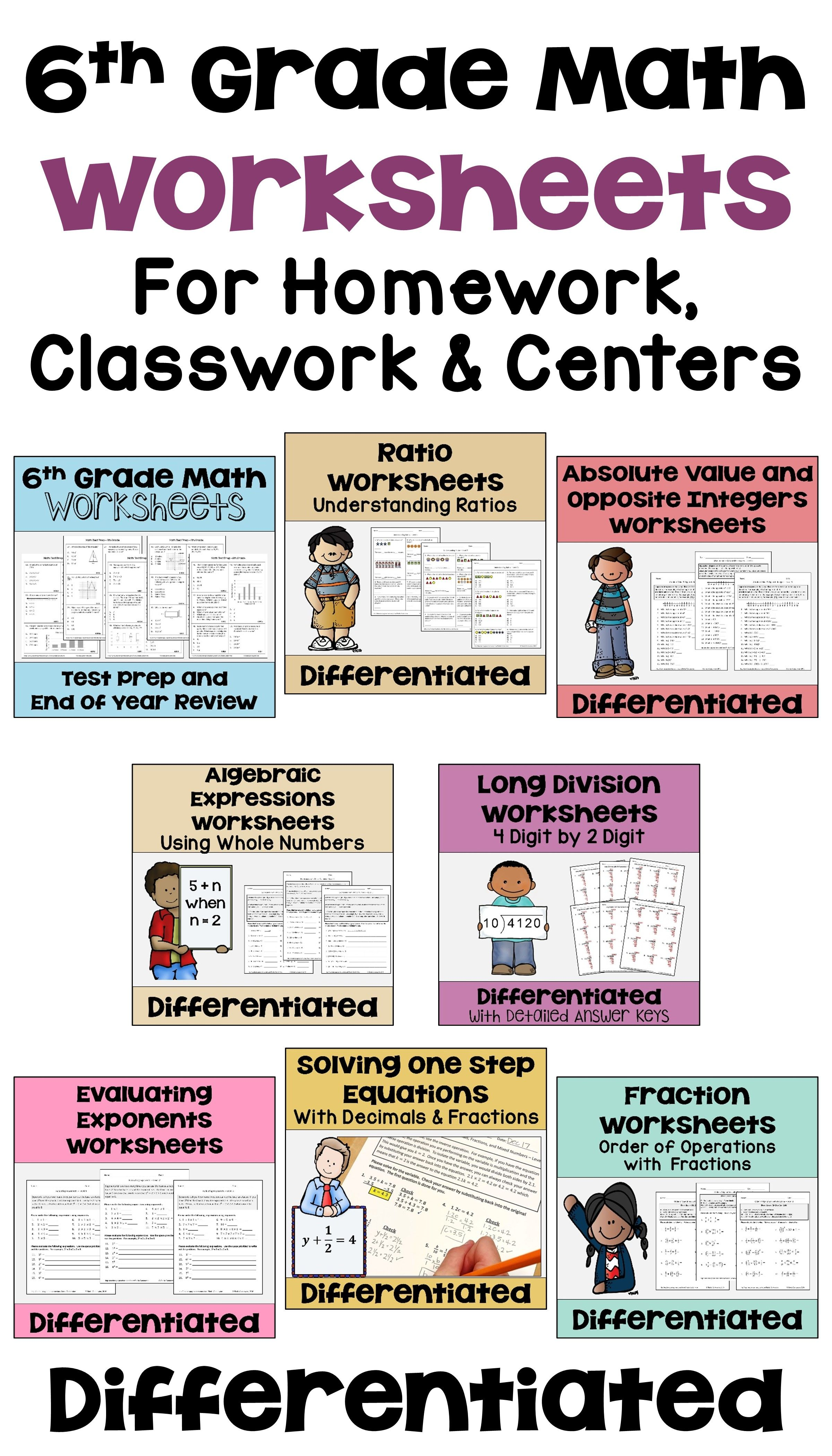6th Grade Math Differentiated Worksheet Bundle For Math