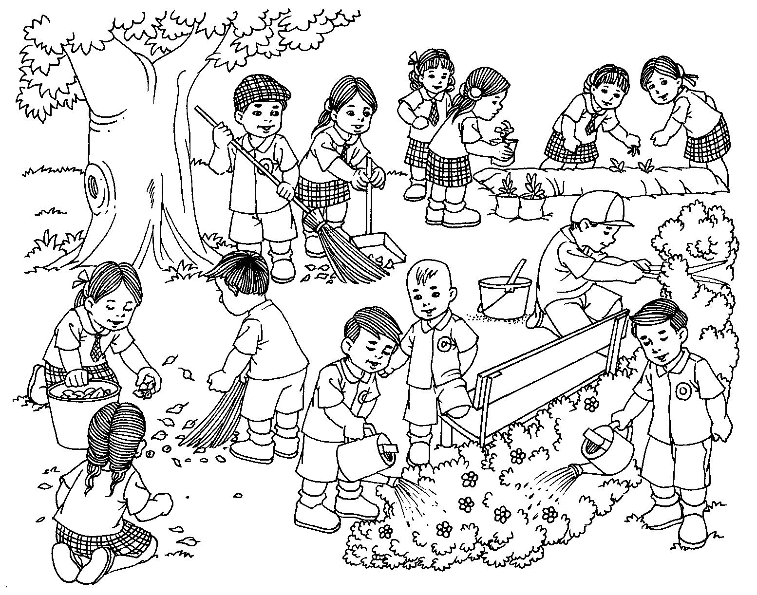 photograph relating to Memory Community Helpers Free to Printable Coloring Pages named Learners cleansing bordering Training Artwork drawings for