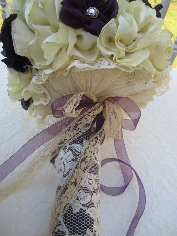 Beautiful fabric flower wedding bouquet alternative bridal bouquet ...