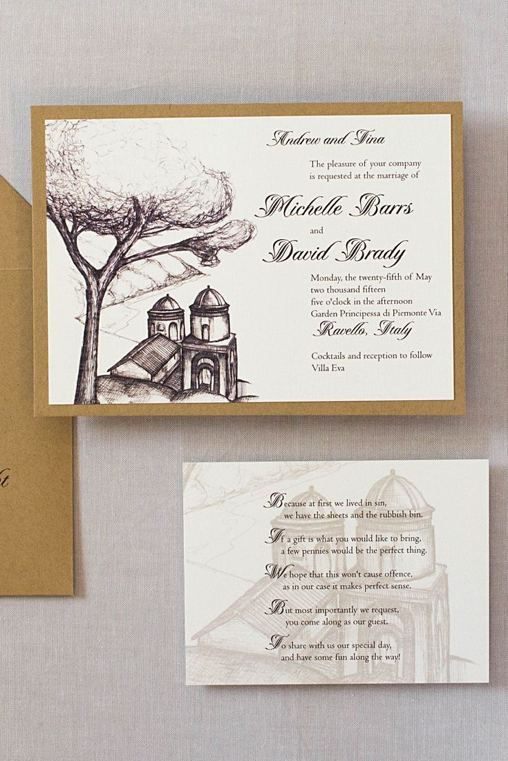 first line of wedding invitations%0A Ravello Italy wedding invitations are designed with a sketch of Church of  Annunziata  Each invitation