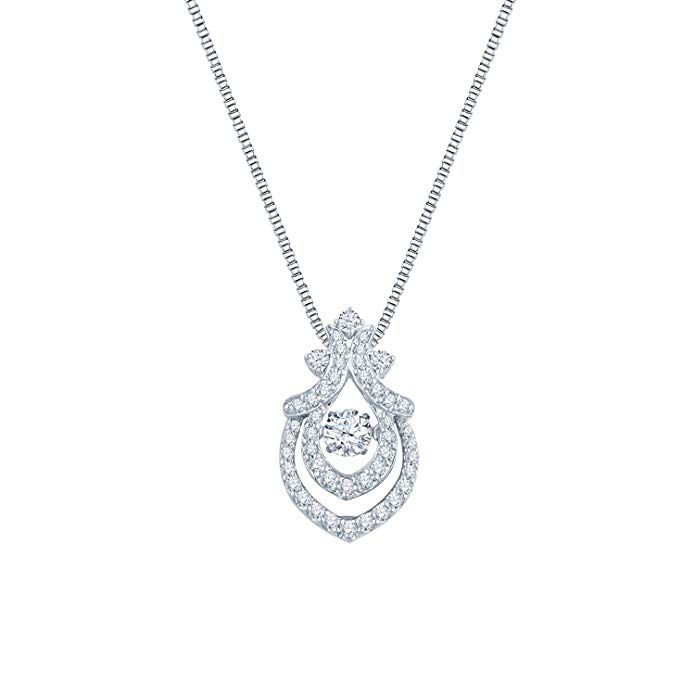f2a3a075d24e8 IGI Certified Round-cut Dancing Diamond Pendant in 14k White Gold (1 cttw)  18