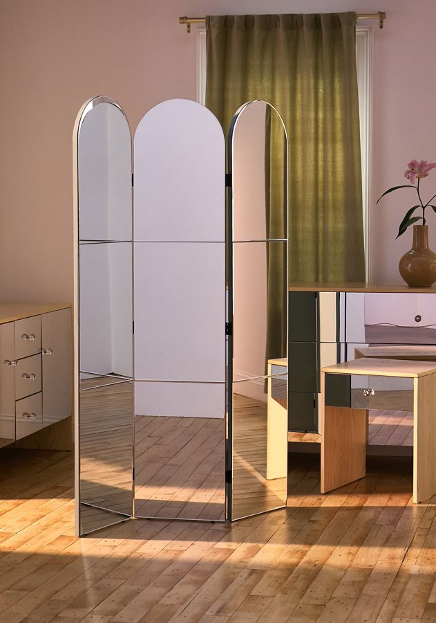 Amaia Mirrored Arc Room Divider Screen In 2020 Mirror Room