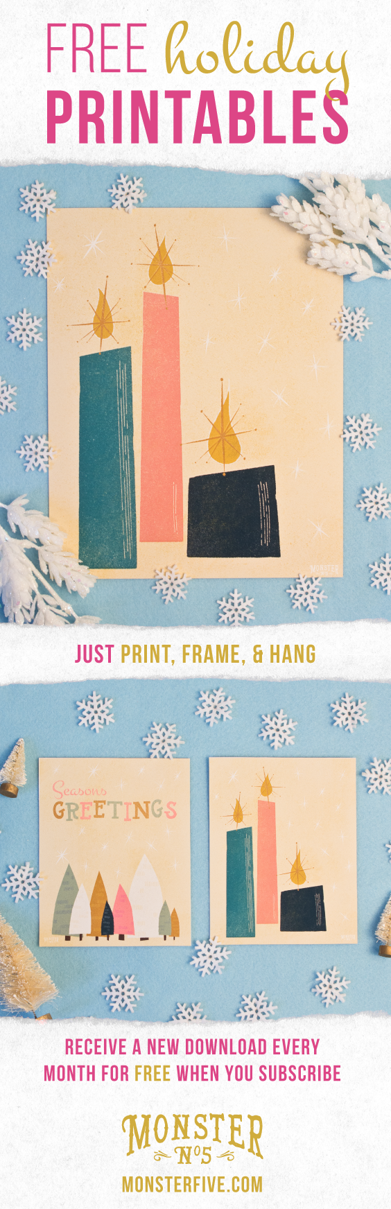 Free Holiday Printables | Midcentury Modern Christmas Art | This ...