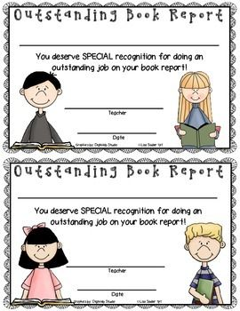 book report recognition certificates variety pack tpt