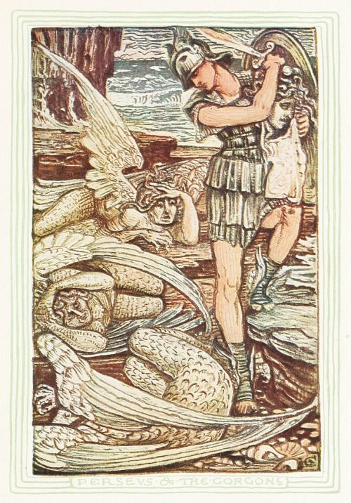 Perseus and the gorgons. Illustration by Walter Crane, from A wonder book for girls & boys, by Nathaniel Hawthorne, Boston, circa 1892. Via archive.org.