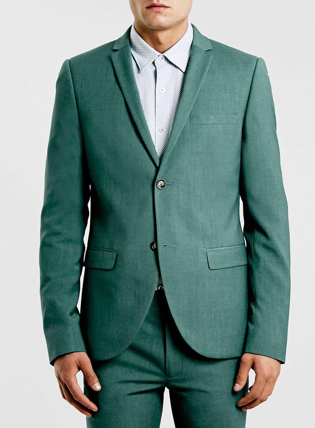 Green melange ultra skinny fit suit jacket | Skinny fit suits ...