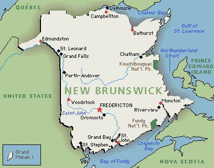 New Brunswick Is One Of Canadas Three Maritime Provinces And The - Map of new brunswick