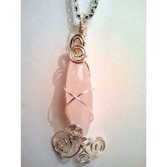 Silver plated Rose Quartz Pendant