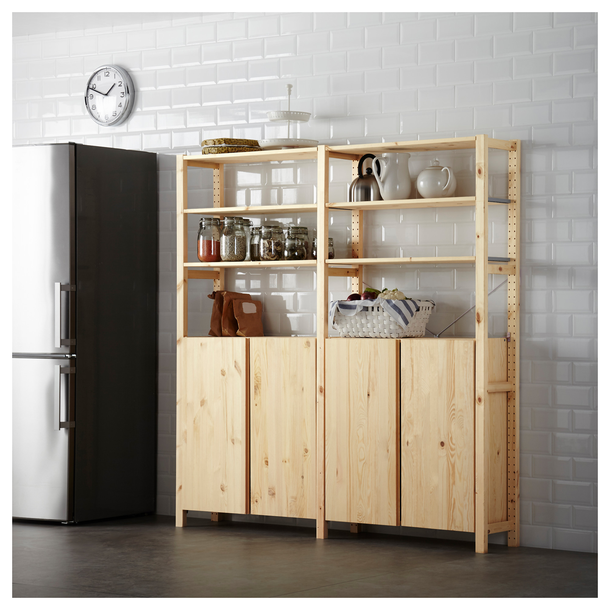 Ivar 2 Section Shelving Unit W Cabinet Pine Organizy Pinterest