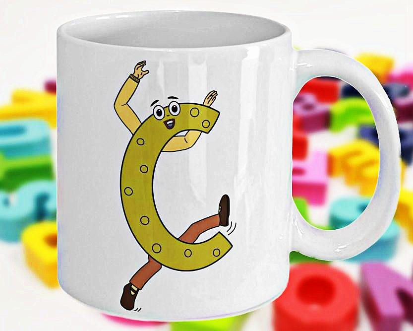 Alphabet Mug with Funny ABC Cartoon Characters as Children\u0027s - gift letters