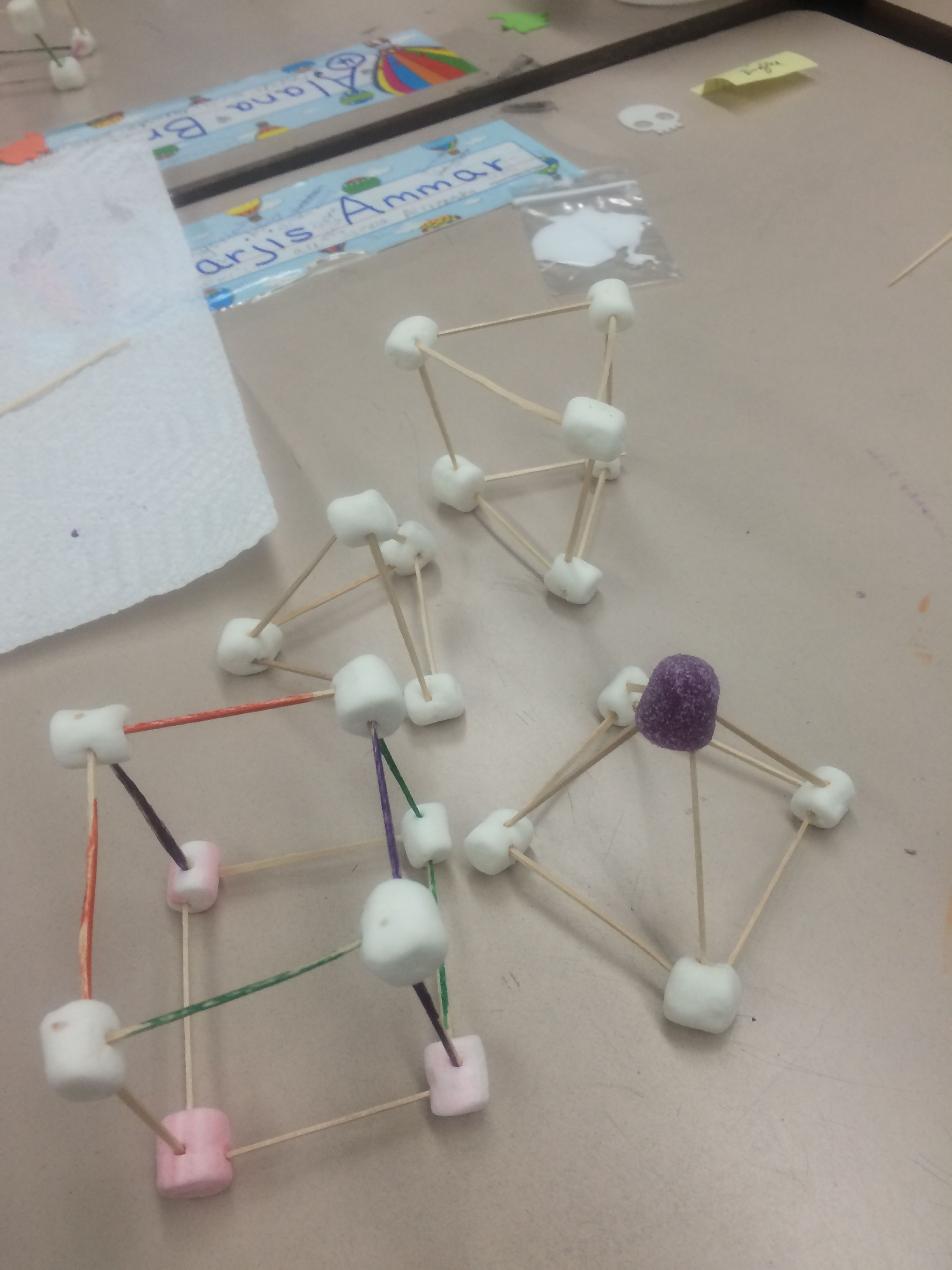 Marshmallow Toothpick Prisms Pyramids