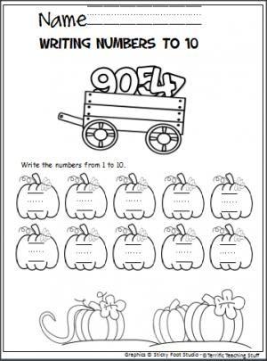 Pumpkin Number Writing To 10 Madebyteachers Writing Numbers Kindergarten Worksheets Writing Sentences Kindergarten