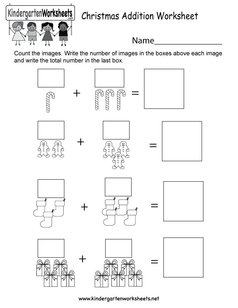 Kindergarten Christmas Addition Worksheet Printable  Schooll