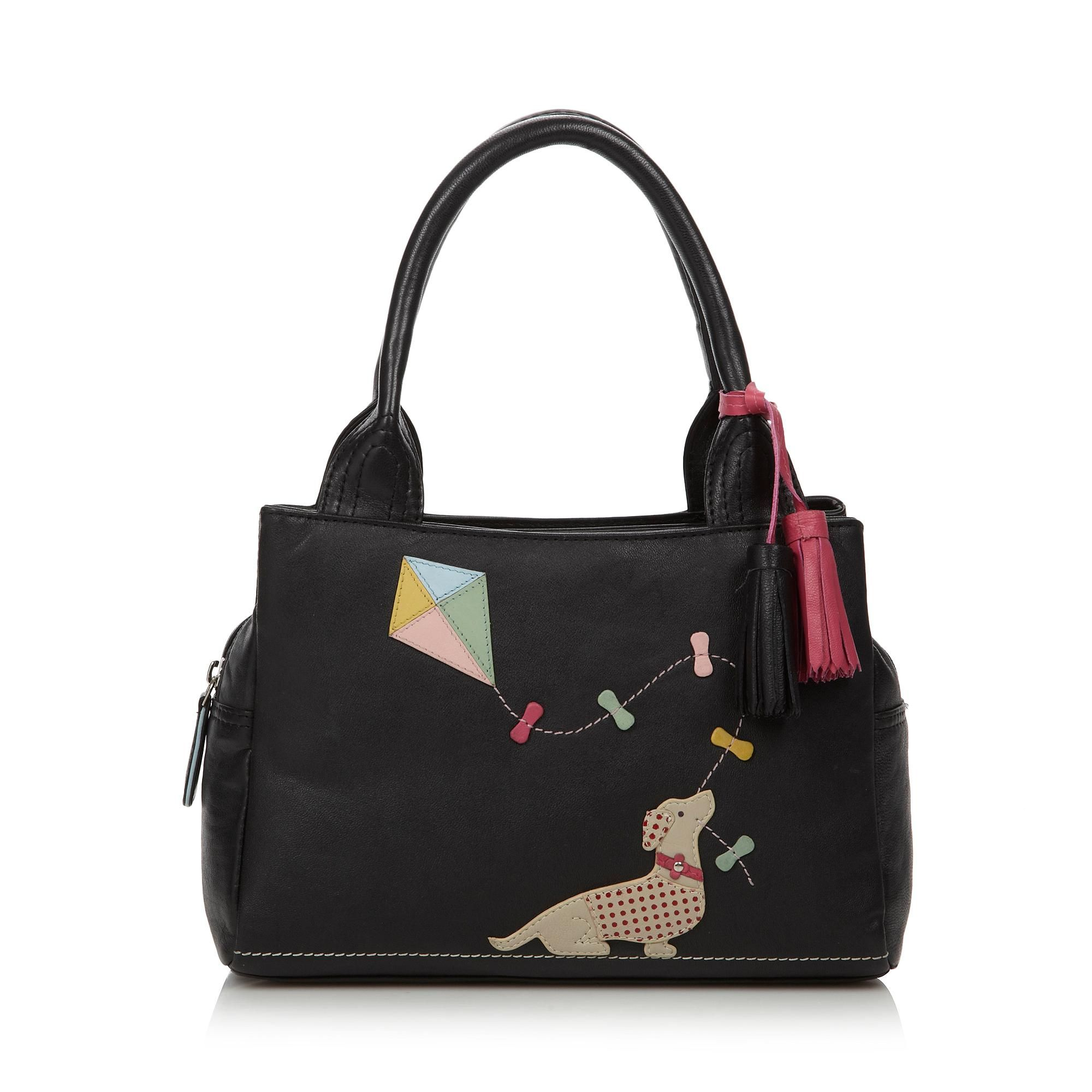 Black leather applique dog grab bag - Debenhams.com