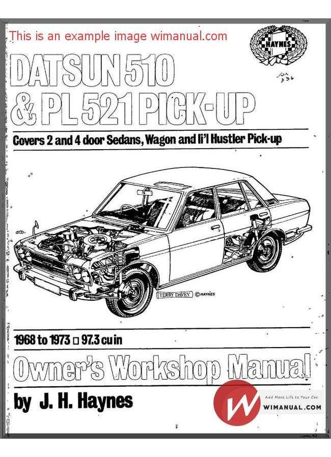 workshop manual datsun 510 pl521 pick up 1968 73