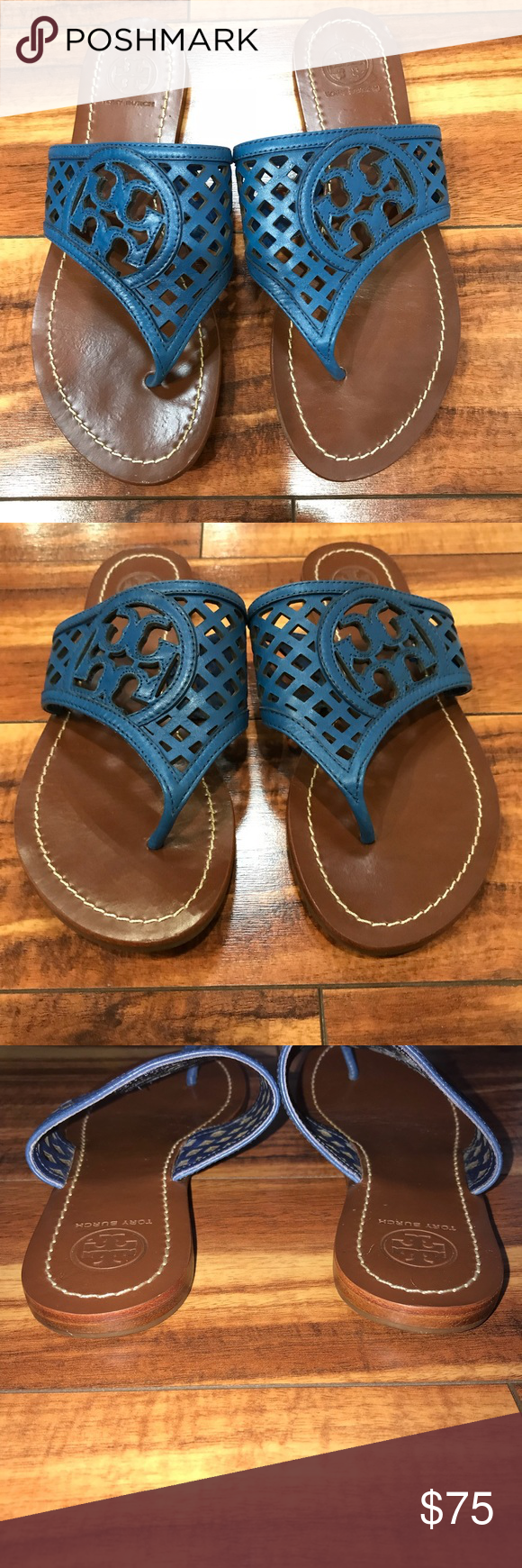 4b40107b0eae5d Tory Burch Thatched Perforated Logo Thong Cute Tory Burch thong sandals in Greek  Blue! Worn