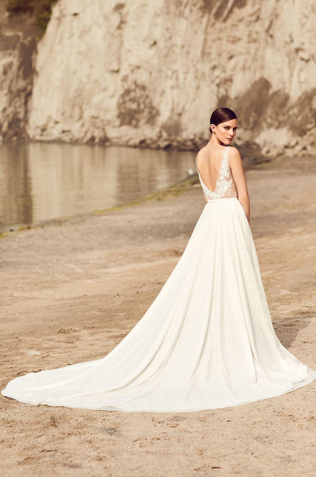 Illusion lace bodice wedding dress style mikaella bridal