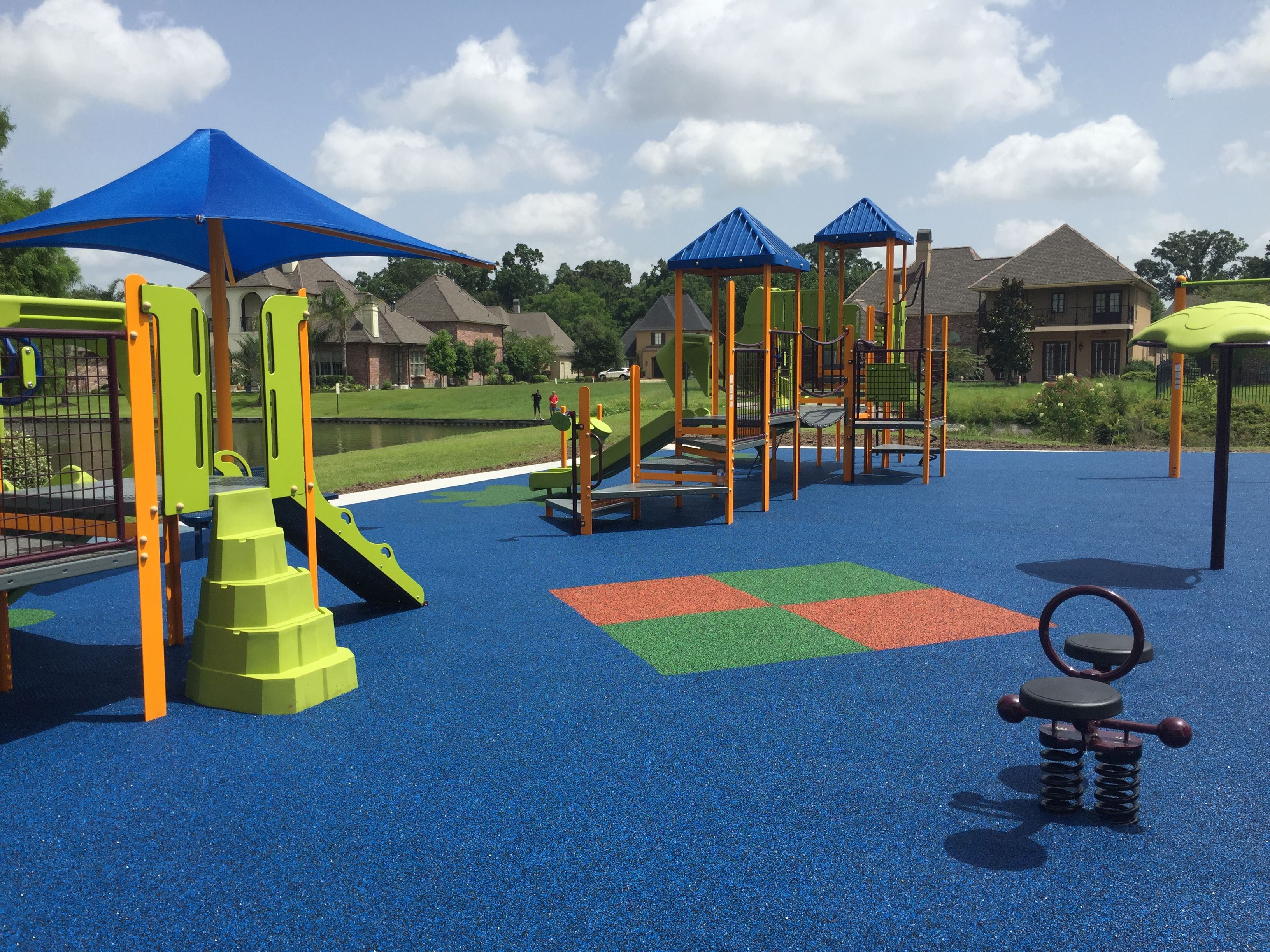 Lakes At Highland Subdivision In Baton Rouge Louisiana Has A Beautiful New Playground Over 3 300 Square Birthday Party Places Playground Green And Orange
