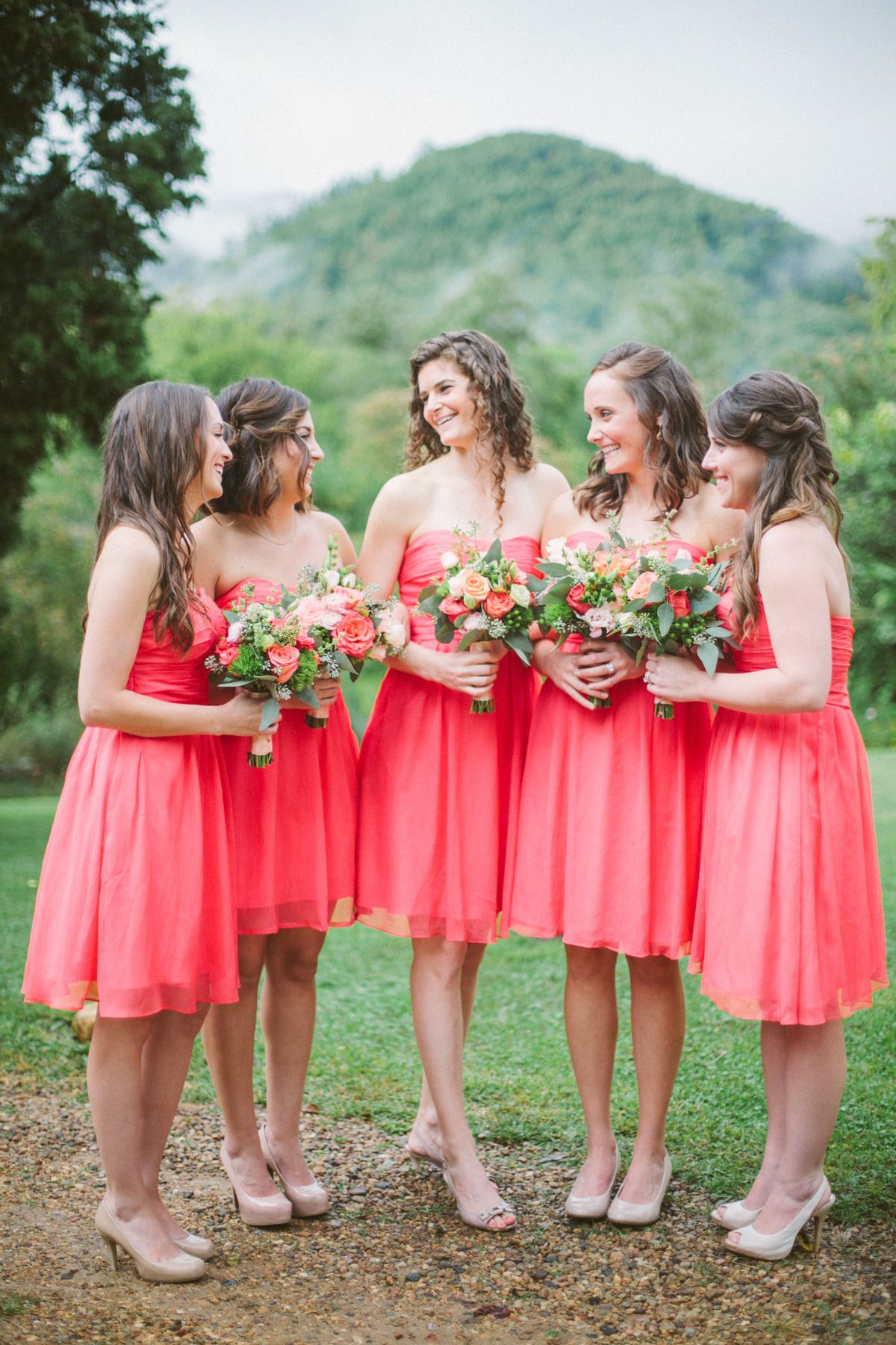 Coral wedding at mountain magnolia inn magnolia peach and ivory coral bridesmaid dresses httpstylemepretty201403 ombrellifo Gallery