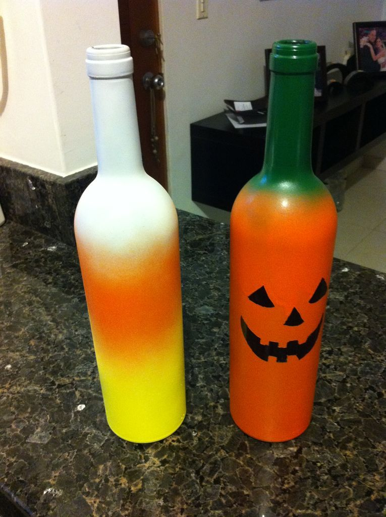 How To Decorate Wine Bottles For Halloween Interesting Wine Bottle Jackolanterns  Indoor Halloween Decorations Candy Review