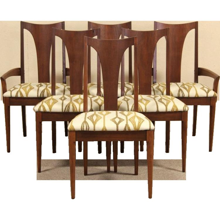 Set of 6 Midcentury Modern Walnut Dining Chairs, 1960