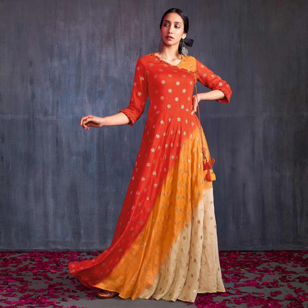 Adorning Orange-Cream Colored Partywear Foil Printed